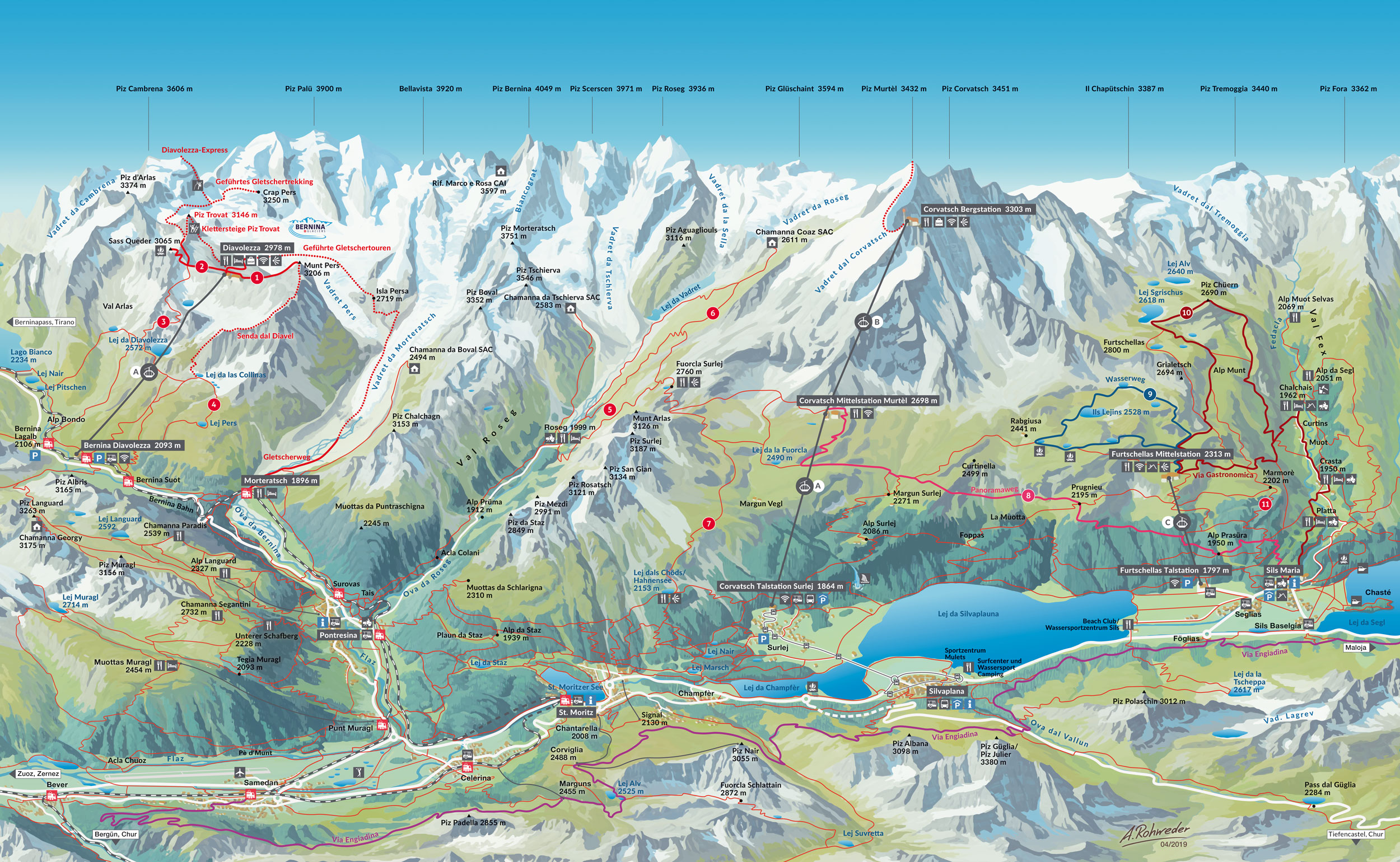 Corvatsch Diavolezza Sommer Karte - Trail Map